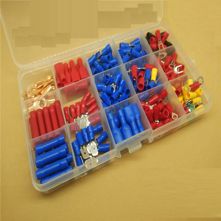 230 Pcs Box Insulated Terminals Electrical Crimp Connector Tube Wire Connector Assortment Kit Cold Pressing Copper Terminals 200 pcs awg16 14 wire connector tube head uninsulated pin terminals silver tone