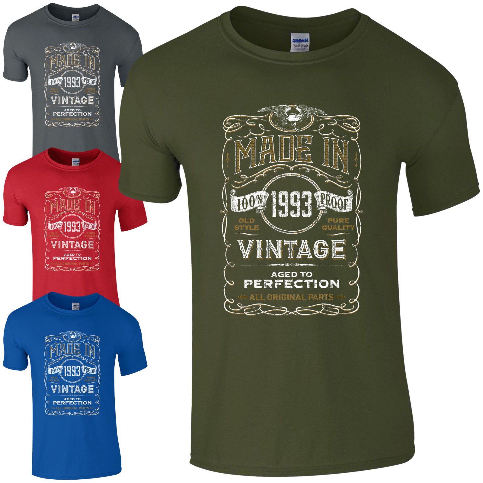 Made in 1993 T-Shirt Born 25th Year Birthday Age Present Vintage Funny  Gift Men T Shirt 100% Cotton Print Shirts free shipping