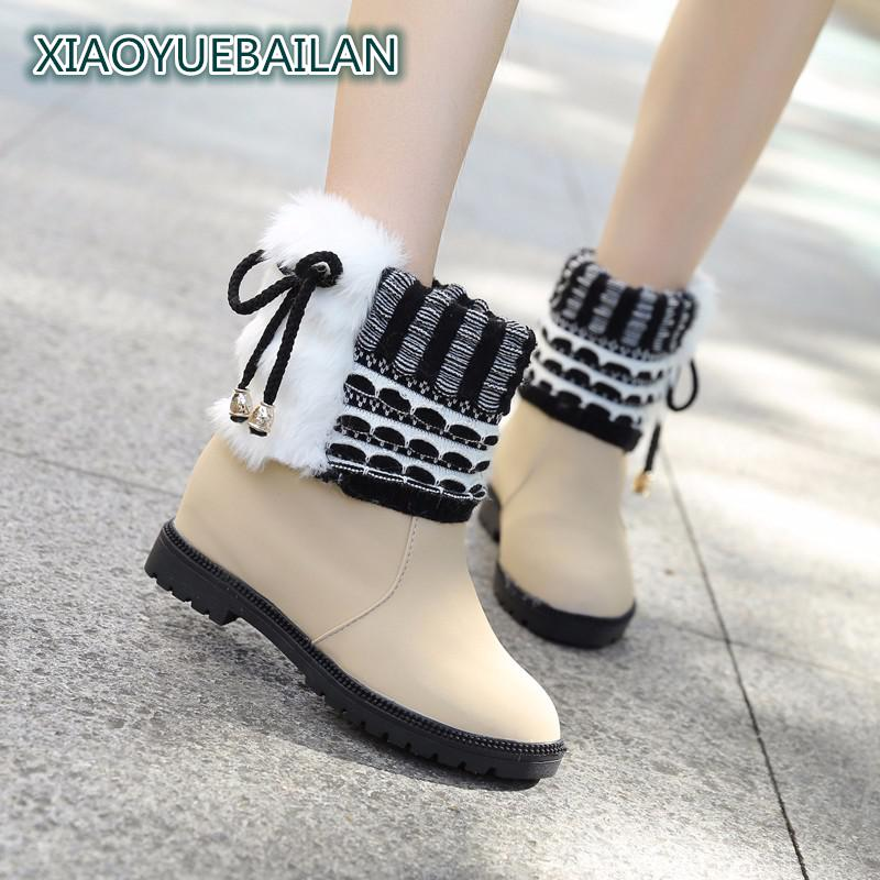 2017 New Winter Snow Boots Design Female Fashion Classic Minimalist Shoes With Velvet Warm Personality