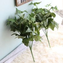 Simulation Plant Wall Accessories 7 Leaves Green Planted DIY Artificial Christmas Decoration Wedding Flowers Fake