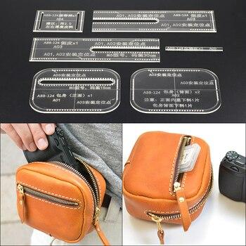1 Juego de plantilla de bolso de cintura hecho a mano patrón de Cuero Acrílico transparente Plantilla de artesanía de cuero para el hogar DIY 14*10*5cm