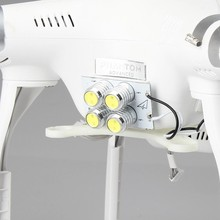 DJI Phantom 3 Qd Night Flight Searchlight White Bright 4 LED Head Lamp Light with reduction voltage module