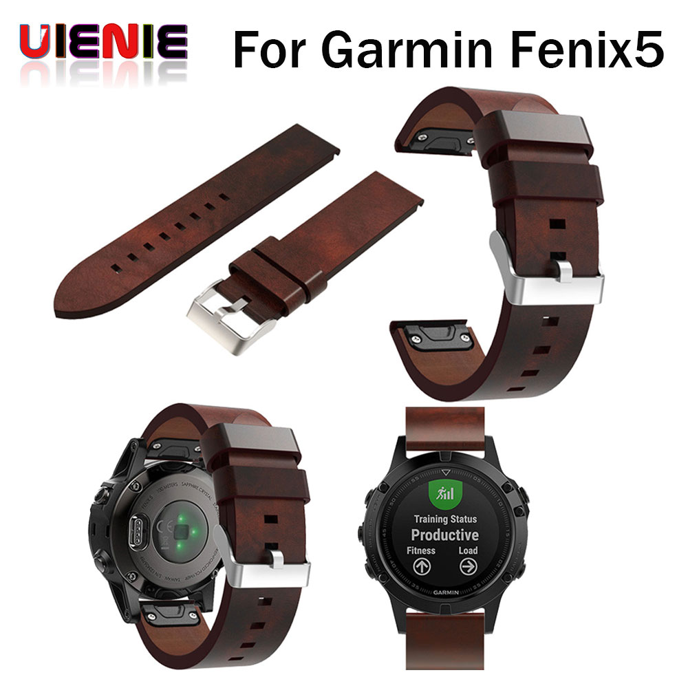 UIENIE Luxury Leather Strap Replacement 22mm Watch Band Wrist Starp With Quick Fit For Garmin Fenix 5/Forerunner 935 Bracelet