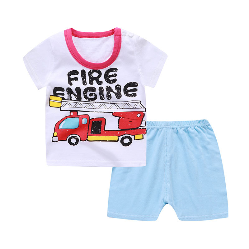 New Cartoon Summer Baby Boy Clothing Set Tank Top + Shorts Kid Girls Summer Set Toddler  ...