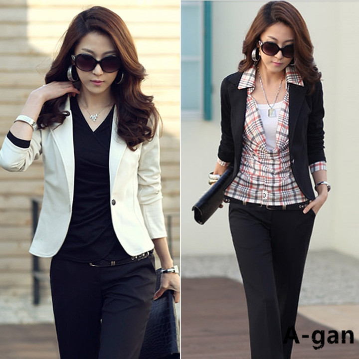 Fashion Spring Summer Women's Slim Casual Short Blazer Suit Jacket ...