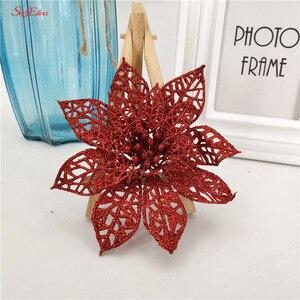 Image 5 - 10 pçs 15cm flores artificiais brilhantes decorações da árvore de natal decoração para casa fontes festa de casamento festivo 6zhh186