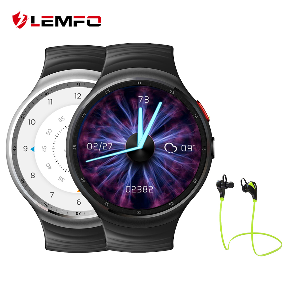 Hot!  MTK6580 LEMFO LES1 Bluetooth Smartwatch With SIM Card Slot Support GPS WIFI Heart Rate Monitor Pedometer lemfo lem5 pro smartwatch android 5 1 heart rate monitor 2gb 16gb smartwatch 2017 smart watch support sim card gps wifi wrist