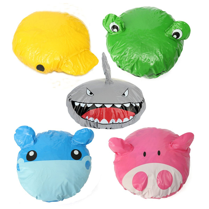 Pig/Hippo/Frog/Shark/Duck Pattern Cute Cartoon Animal PVC Elastic Spa Shower Cap Hat Bath Hair Cover For Taking Shower ...