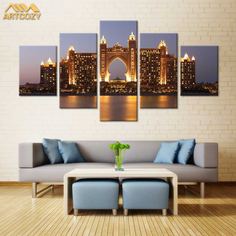 Artcozy 5 Piece Canvas Art Painting Spray Printings Dubai Atlantis Hotel Building Wall Picture Home Decoration Paint Unframed