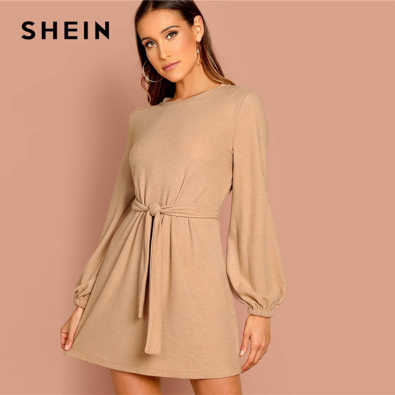 SHEIN Camel Knot Front Lantern Long Sleeve Belted Solid Mini Dress Women Spring O-Neck Mid Waist A Line Casual Workwear Dresses