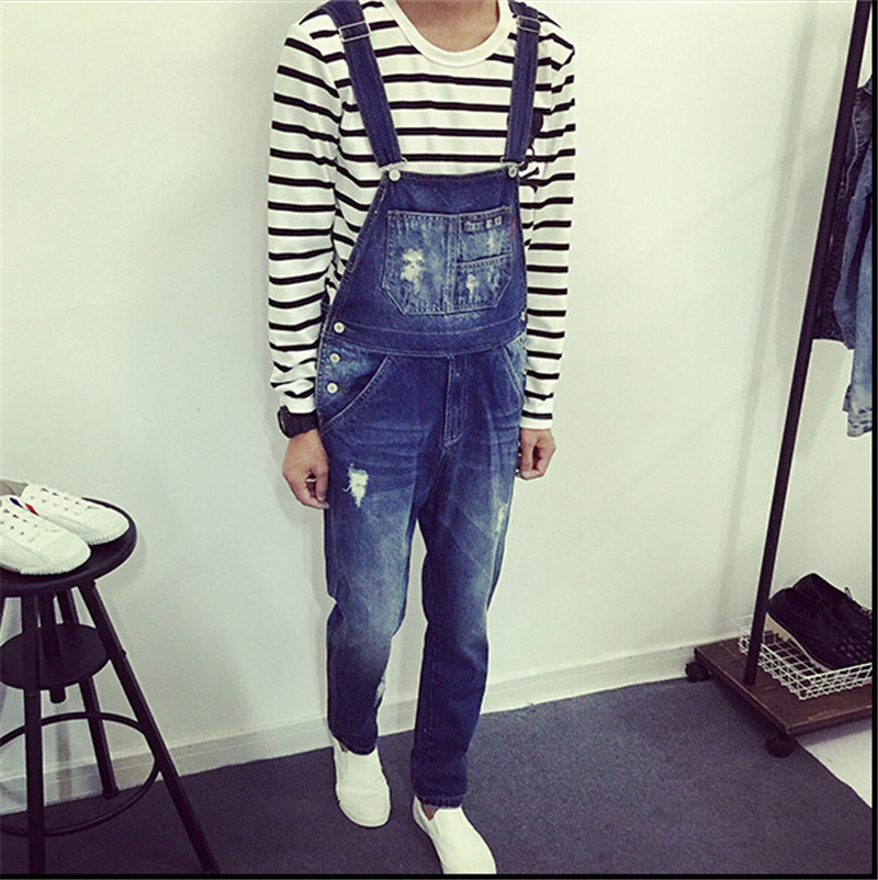 ФОТО New 2015 True Jeans Men Original Denim Overalls European American Fashion Ripped Jeans For Men Hip Hop Pants Bib Trousers