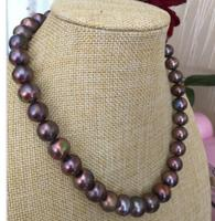 stunning 11 12mm tahitian round black red pearl necklace 18inch 14k/20