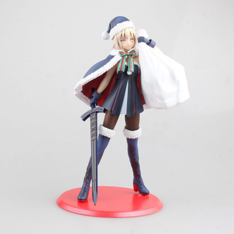 Anime Fate Stay Night Fate Grand Order Christmas Saber PVC Action Figures Collectible Model Kids Toys Doll 24cm fate grand order anime saber jeanne gilgamesh e f g h i j series japanese rubber keychain