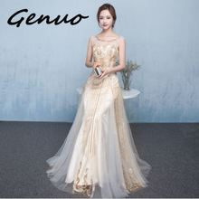 Genuo New Lining Bodycon Sexy Dress Floor Length Maxi Elegant Women Party Split See Through Llong Lace 2019