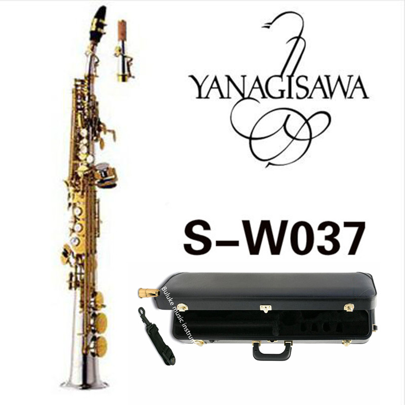 New Arrival YANAGISAWA W037 Soprano B(B) Saxophone Brass Silver Plated Gold Key B Flat Sax With Mouthpiece Case Free Shipping yanagisawa soprano saxophone b flat electrophoresis gold top musical instruments sax soprano professional grade free shipping