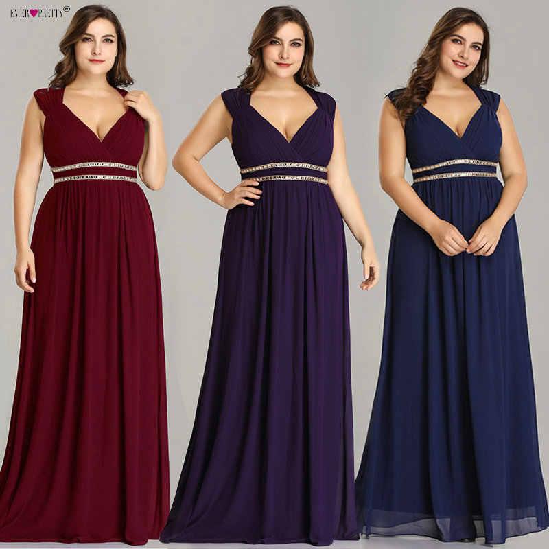 Ever Pretty Plus Size Formal Evening Dresses Long Women Elegant Burgundy V Neck  Chiffon Empire Party b8e1f3272958