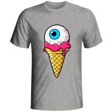 Funny Eyeball Icecream T Shirt Authentic Copyright Designer Awesome Distinctive T-shirt Men Women HQ Gray Cotton Tee
