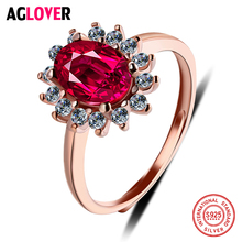 Authentic 925 Sterling Silver Rose Gold Flower Resizable Rings For Women Romantic Red Crystal Wedding Support Wholesale
