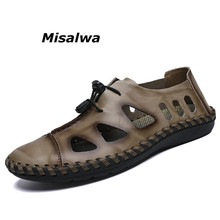 Misalwa Summer Men Beach Loafers 2019 Split Leather Handmade Sandals Casual Quality Youth Boys Driving Boat Moccasins Plus Size