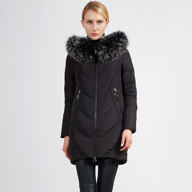 Natural raccoon dog fur collar slim white duck   down   jackets women   down     coats   outerwear 2018 autumn winter new collection