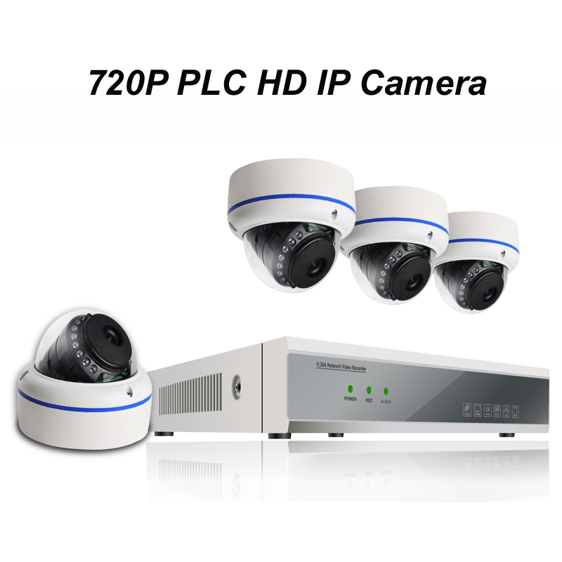 4pcs of 720P PLC HD IP Dome Camera with 1080P NVR Kit with Power Line Communication Module Built-in Reach 300m Power Supply