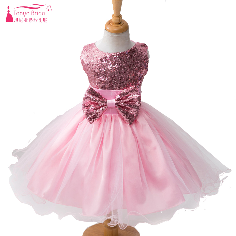 Pink Sequined Ball Gown Little   Flower     Girls     Dress   For Party And Wedding with Big Bow Organza TuTu Kids Pagent Gown ZF034