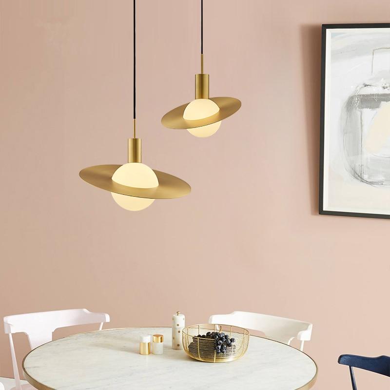 Современные круглые стеклянные шаровые подвесные светильники, светодиодные медные Круглые лампы для кухни, гостиной, спальни, кафе, рестор