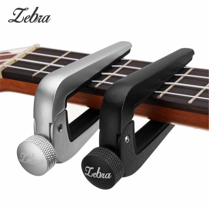 Zebra Universal Guitar Capo FC-09 Zinc Alloy Guitars Ukulele Capotraste Black Silver Tune Clamp Trigger Guitar Instrument Parts fzone fc 81 aluminum alloy guitar capo for 6 string guitar black red