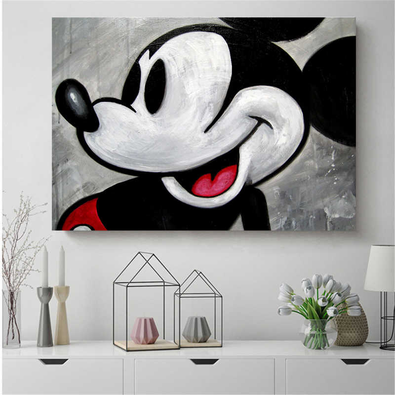 Vintage Mickey Mouse Wallpaper Canvas Painting Print Living