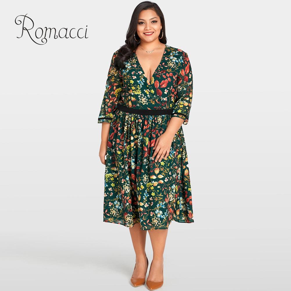 8c33f8359bcee Romacci Women Plus Size Chiffon Dress Floral Print 3 4 Sleeves Vintage  Tunic Dress V Neck Midi A-line Summer Dress 2019 Vestidos