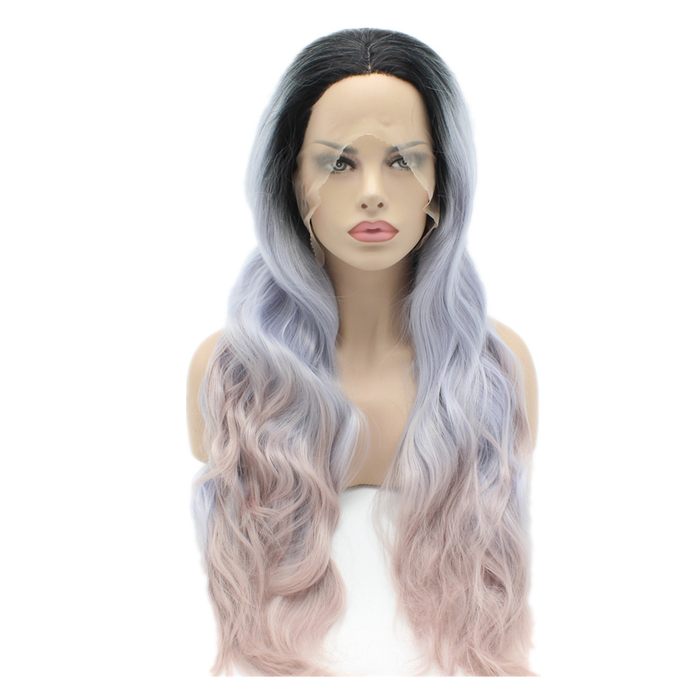 Dark Root To Light Blue Light Purple Ombre Color Wavy Synthetic Lace Front Wigs Stylish Heavy Density Heat Resistant Ladies Wigs k19 16inch wavy purple gradient light purple ombre color synthetic lace front wigs heat resistant heavy density kanekalon wigs