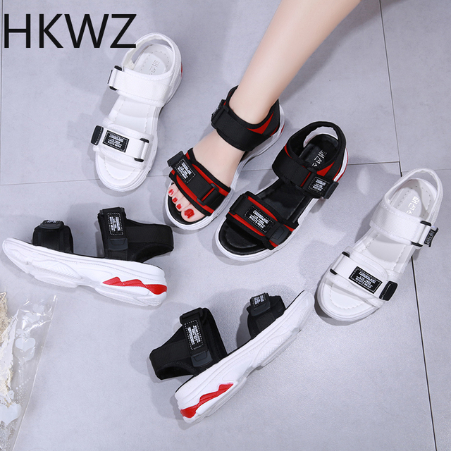 2019 summer new casual non-slip comfortable sports sandals girls thick bottom beach Roman sandals soft bottom breathable sandals