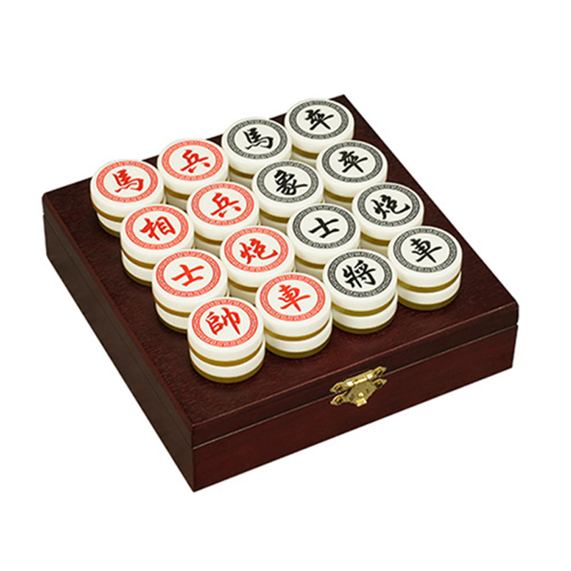 BSTFAMLY Chinese Chess Wood Box 32Pcs/Set Old Game of Go Xiang Qi International Checkers Folding Toy Gifts Diameter=3.5cm LC03 three hands box set of 3 wood dice white