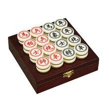 BSTFAMLY chinois échecs bois boîte 32 pièces/ensemble vieux jeu de Go Xiang Qi International dames pliant jouet cadeaux diamètre = 3.5 cm LC03