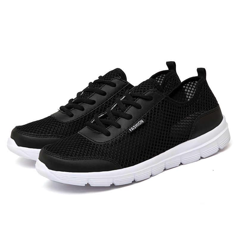 Мужская обувь; коллекция 2019 года; летние кроссовки; дышащая повседневная обувь; модные удобные мужские кроссовки на шнуровке; сетчатая обувь на плоской подошве размера плюс 38-48