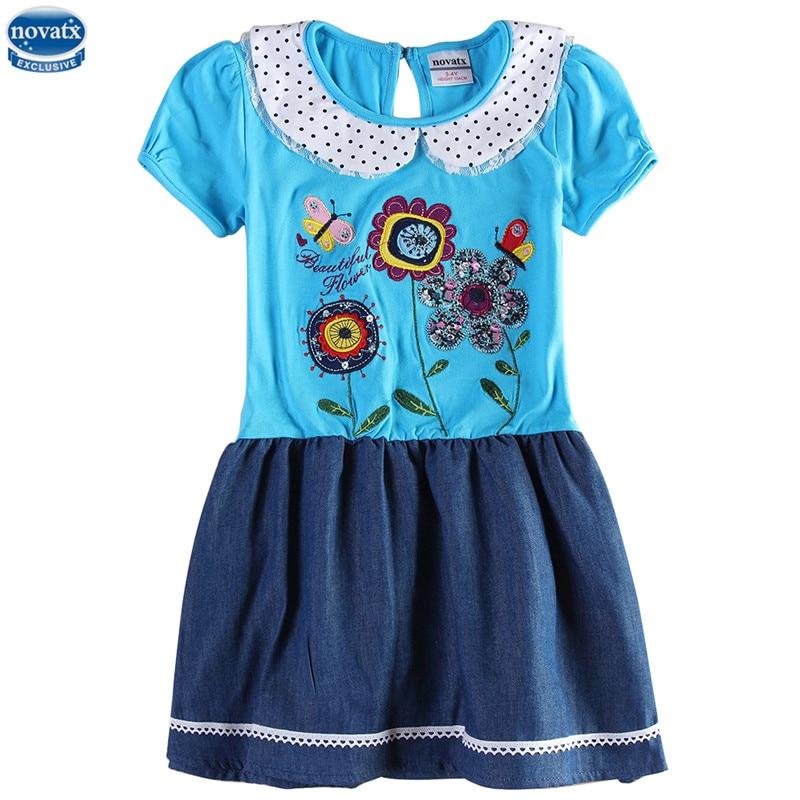 novatx H6405 Girl dresses with doll collar high quality kids factory produce dresses jean children s
