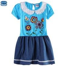 Novatx H6405 Fille robes avec poupée col de haute qualité enfants usine produire des robes jean enfants de partie robes d'été enfants