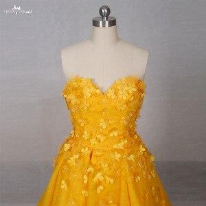 Image 4 - Lz151 alibaba querida laço vestido amarelo real floral alta baixa vestido de baile vestidos