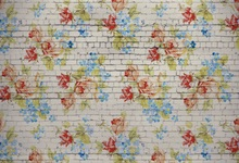 Laeacco White Brick Wall Flowers Pattern Portrait Photography Background Customized Photographic Backdrops For Photo Studio