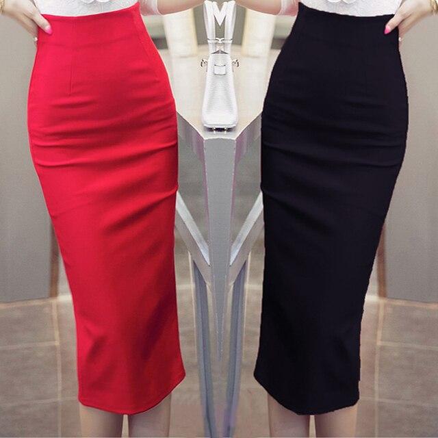 c2b7e248d73b0 TingYiLi High Waist Black Red Long Pencil Skirt Office Ladies Maxi Formal  Skirt Elegant Women Long Skirts Slit Plus Size