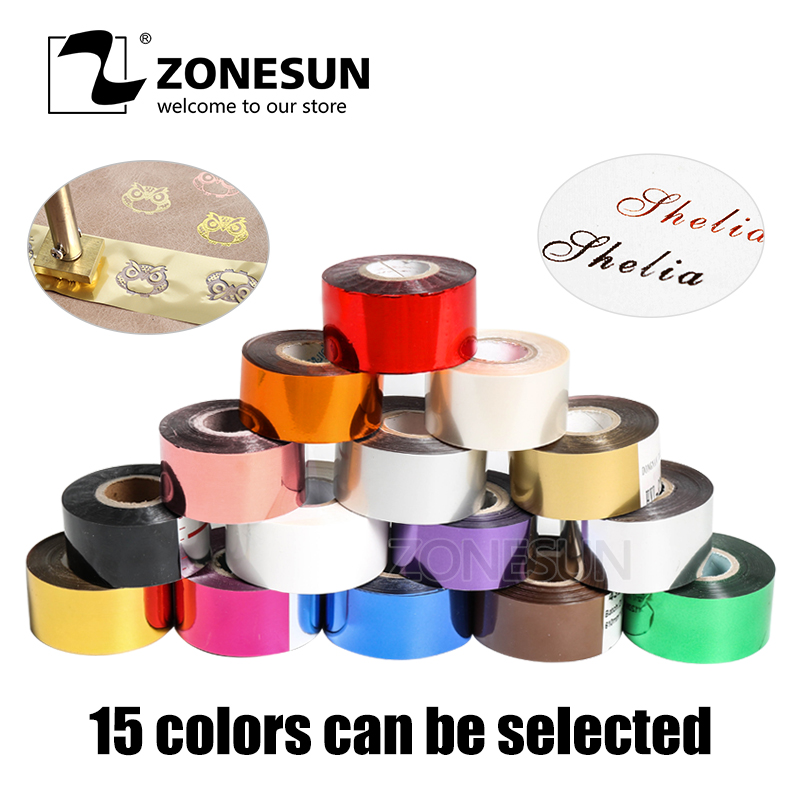 ZONESUN 5cm Gold Silver Red Rose Hot Stamping Foil Paper Transparent Color width/Roll Customized Size DTY Brass Mold Foil 120m zonesun hot foil stamping brass mold wood leather paper customized embossing mold diy design bread die iron heating emboss mould