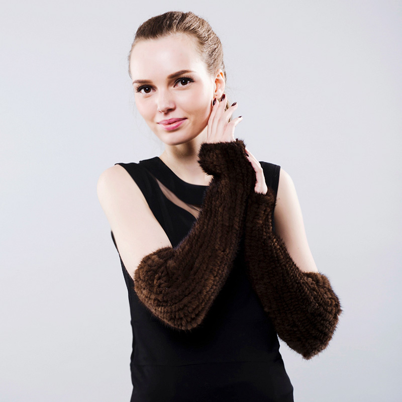 Mink Fur Fingerless Gloves 40cm for Women Real Fur Female Gloves&Mittens Black Brown Brand Knitted Natural Fur Glove 2017 New globe panther golden brown fur