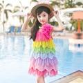 Детская одежда новый летний девушка радуга жгут платье принцессы большой детский цветок жилет платье девушки одеваются