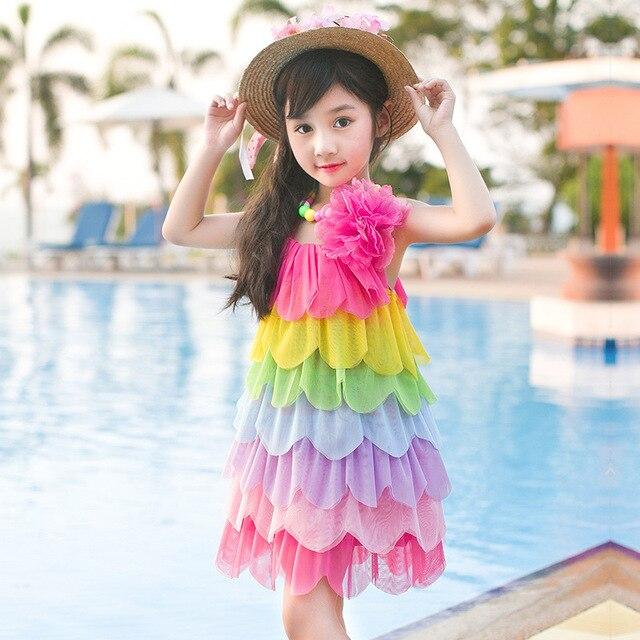 Children s clothes new summer girl rainbow harness princess dress big  children  s flower vest dress be8584920c90