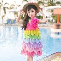 2016 New Summer Kids Rainbow Princess Dress In Large Flower Children Sling Vest Penglai
