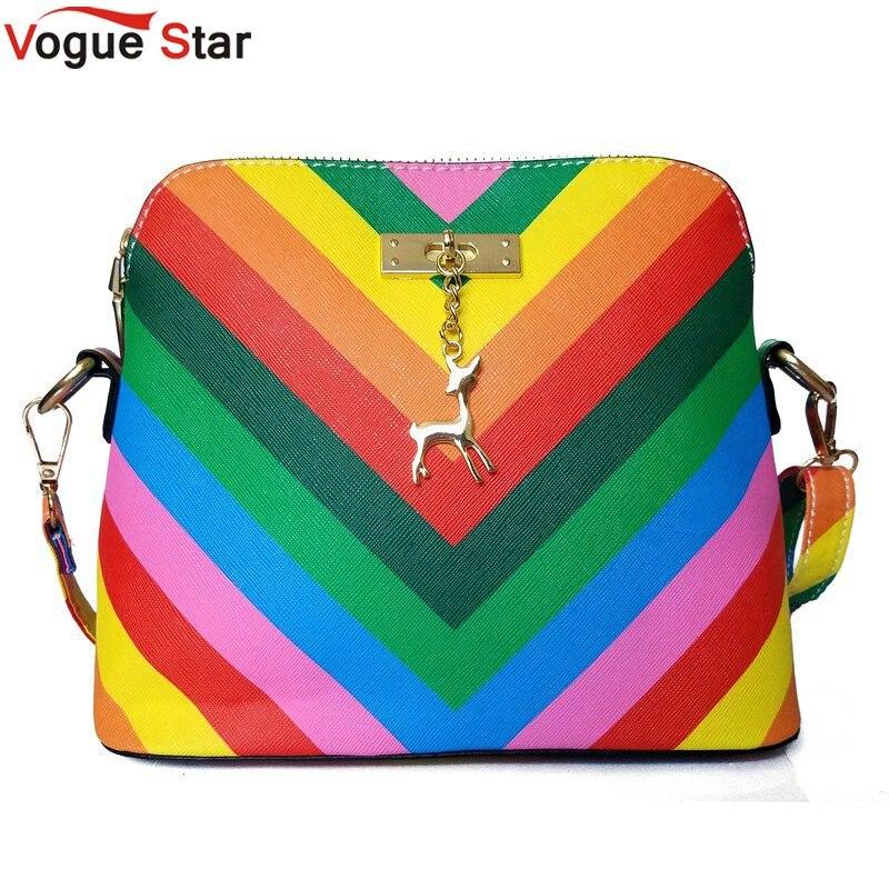 Vogue Star 2017 Summber New  women's messenger bag rainbow shell bag pu Leather