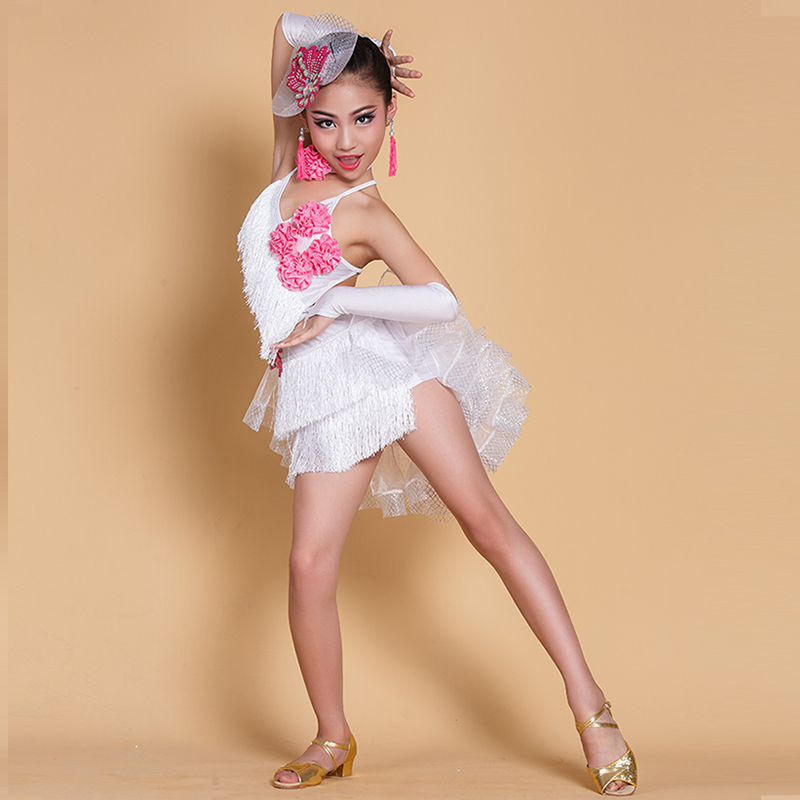 ФОТО 2017 Unique Design Net Yarn Fluffy Fishbone Peplum Fashion Tassel Children Latin Dance Clothe Exquisite Floral Queen Dance Dress