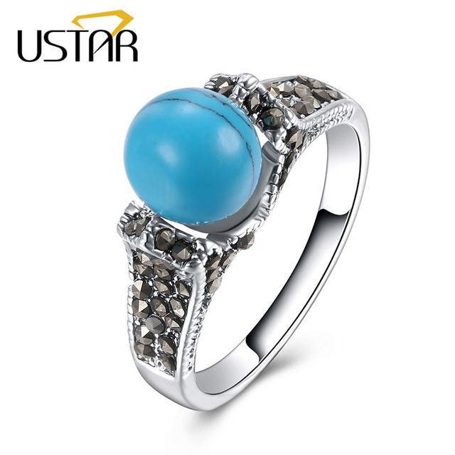 USTAR Round Blue Stone Wedding Rings for women Black Crystals Silver