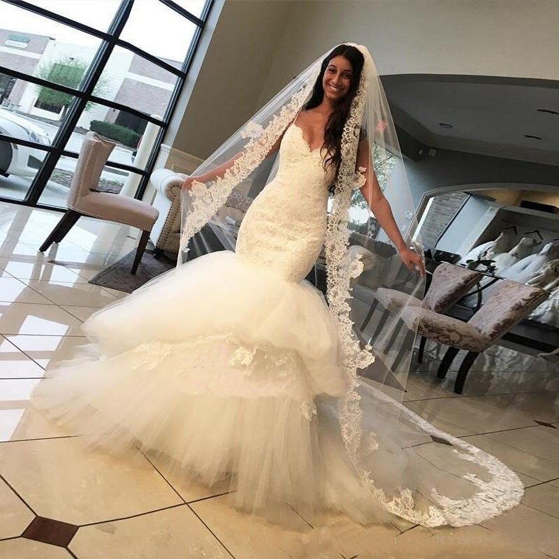 2017 Sexy Spaghetti Straps Mermaid Lace Wedding Dresses