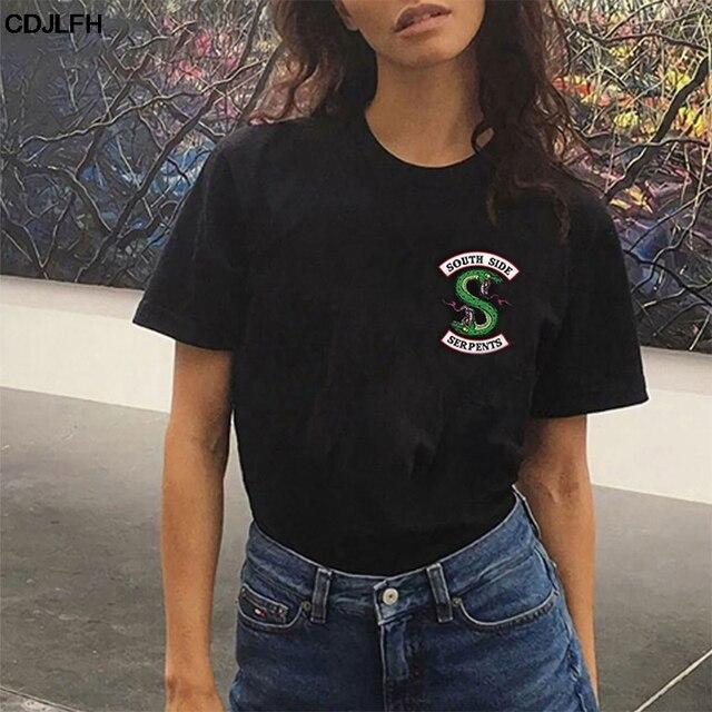 Harajuku уличная одежда Riverdale Southside Serpents Jughead черная футболка корейский стиль Модные топы с круглым вырезом короткий рукав Футболка